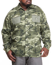 Akademiks - Alpha All Over Camo Roll-Up Button Down Shirt (B&T)