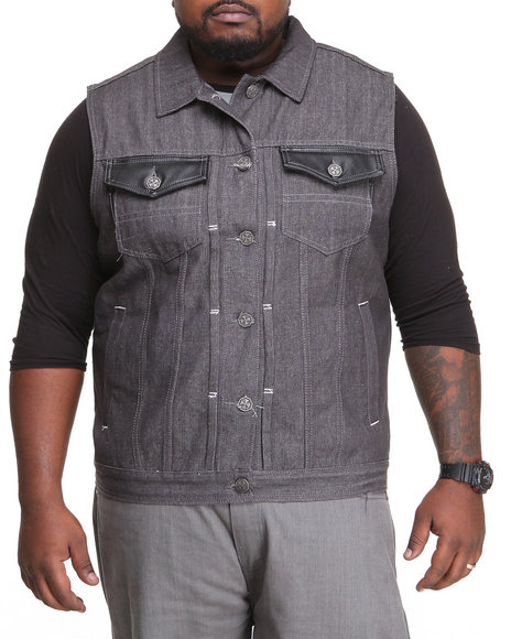 Blac Label - Men Grey B L P - P U  - Trimmed Denim Vest (B&T)