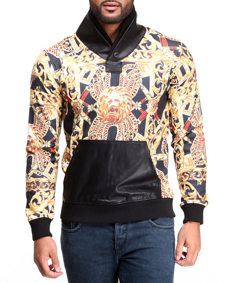 Double Needle Black Golden Lion Shawl Neck Sweatshirt