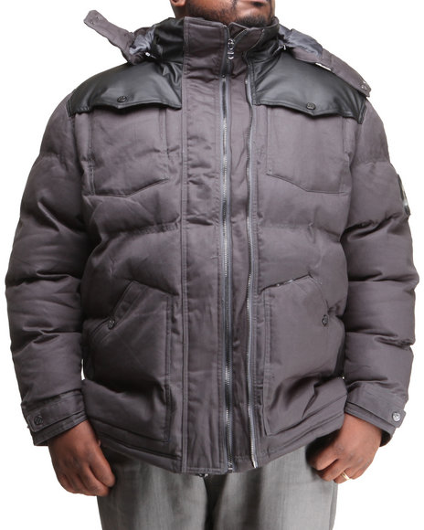 COOGI Charcoal Puffer Twill Jacket W/ Pu Detailing (Big & Tall)