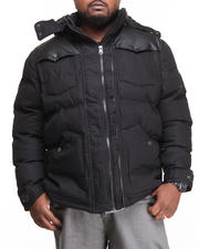 Men - Puffer Twill Jacket w/ PU detailing (B&T)