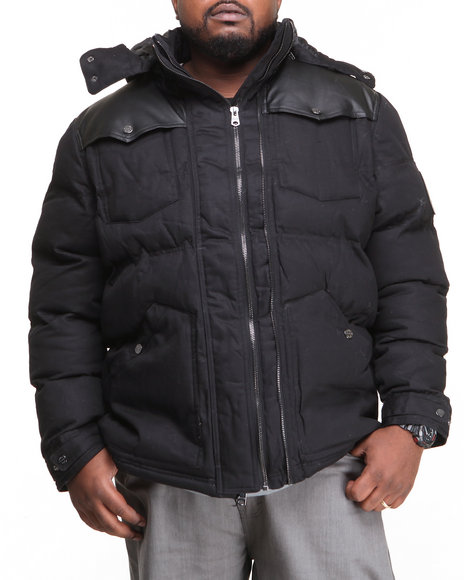 COOGI Black Puffer Twill Jacket W/ Pu Detailing (Big & Tall)