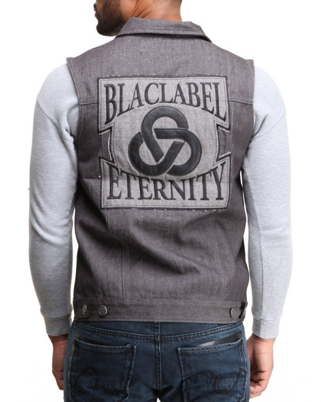 Blac Label - Men Grey B L P - P U  - Trimmed Denim Vest