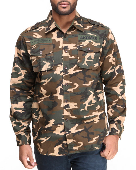 Akademiks Camo Sumper L/S Button Down Shirt