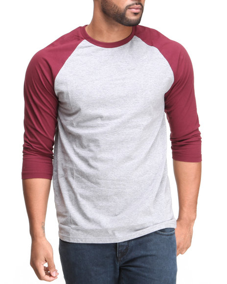 Basic Essentials - Men Grey,Maroon 3/4 Sleeve Raglan Tee
