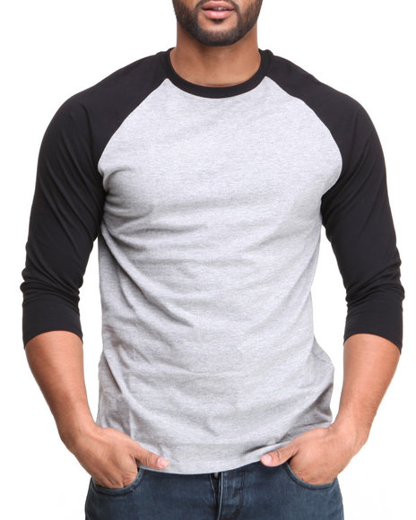 Basic Essentials - Men Black,Grey 3/4 Sleeve Raglan Tee