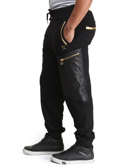 Double Needle - Men Black New Chainz P / U Trimmed Fleece Pants