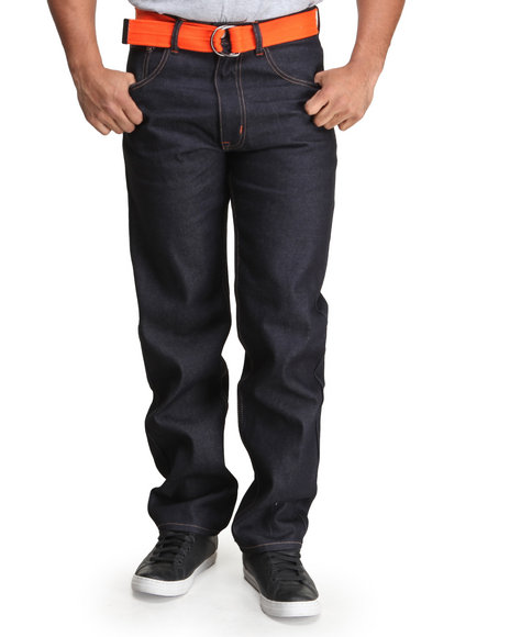 Akademiks - Men Orange Hewitt 5 Pocket Belted Raw Denim Jeans