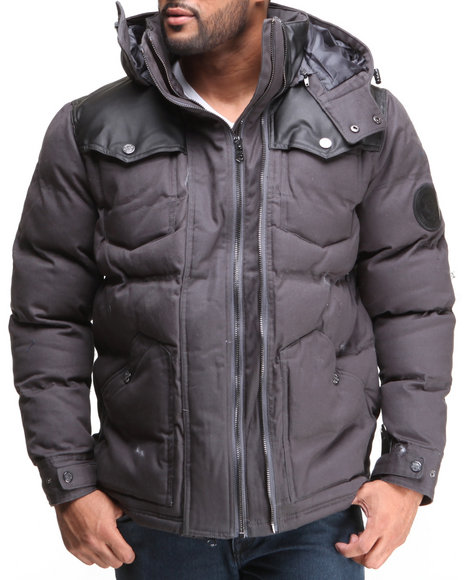 COOGI Charcoal Puffer Twill Jacket W/ Pu Detailing