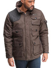 Heavy Coats - Parka Twill Jacket w/ Herringbone Detail