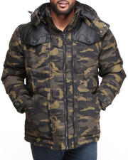 Outerwear - Puffer Twill Jacket w/ PU detailing