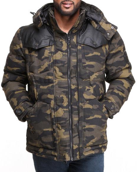 COOGI Camo Puffer Twill Jacket W/ Pu Detailing