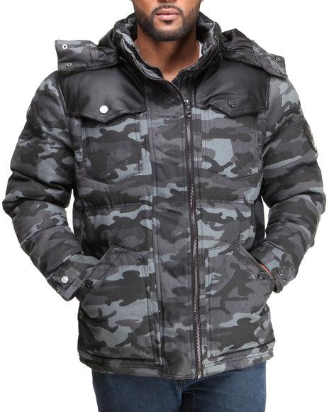 Coogi - Men Camo Puffer Twill Jacket W/ Pu Detailing