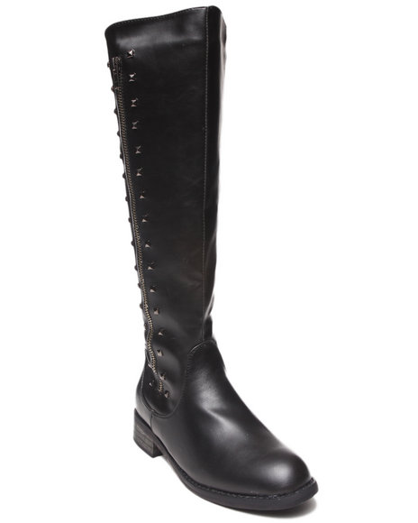 Fashion Lab - Women Black Helen Riding Boot W/Studs