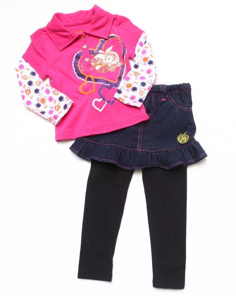 Apple Bottoms Girls Pink 2 Pc Set Polo Twofer & Skeggings (Infant)