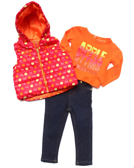 Apple Bottoms - Girls Red 3 Pc Set - Puffer Vest, Tee, & Jeans (Infant)
