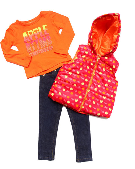 Apple Bottoms - Girls Red 3 Pc Set - Puffer Vest, Tee, & Jeans (2T-4T)