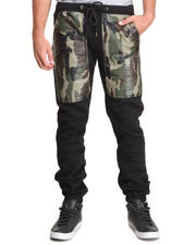 Kite Club - Fleece Drawstring Jogger Pant w/ Camo Faux Leather Panel