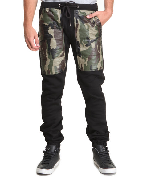 Kite Club - Men Black,Camo Fleece Drawstring Jogger Pant W/ Camo Faux Leather Panel