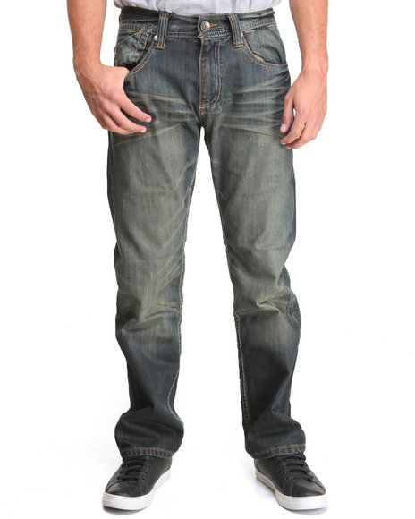 Buyers Picks - Men Vintage Wash Rustic Wash Premium Straight Fit Denim Jeans