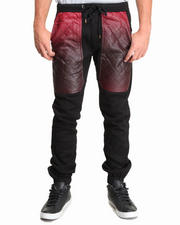 Men - Fleece Drawstring Jogger Pant w/ Quilted Ombre Faux Leather Panel