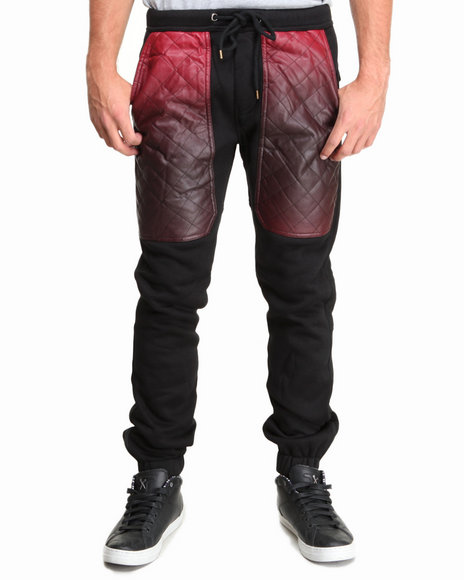 Kite Club Black,Red Fleece Drawstring Jogger Pant W/ Quilted Ombre Faux Leather Panel