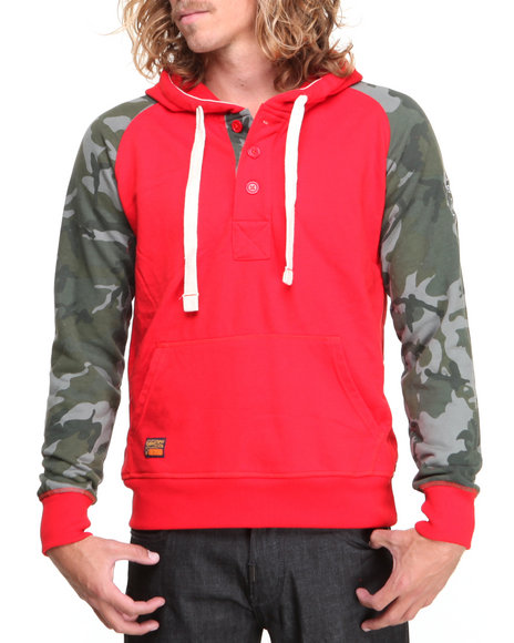 Rolling Paper Red Camo Print Hooded Raglan