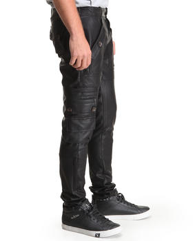 Bass By Ron Bass - Black Out Multi - Pocket Vegan Leather Cargo Pants