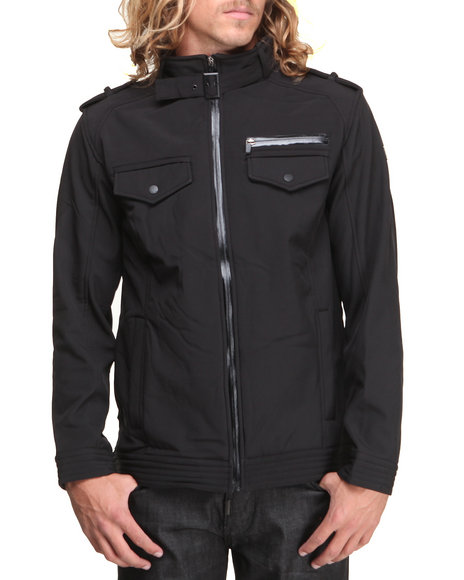 English Laundry Black Soft Shell Textured Fleece Interiror Jacket