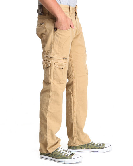 Buyers Picks - Men Tan Twill Premium Washed Slim Fit Twill Pants