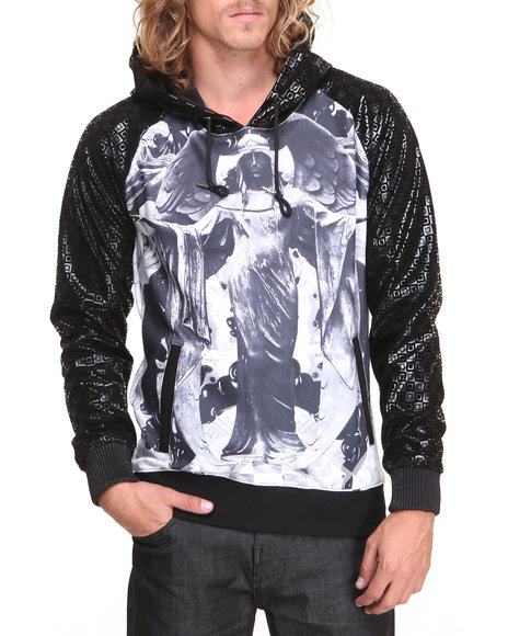 Double Needle Black Brick Drip Sublimated Hoodie