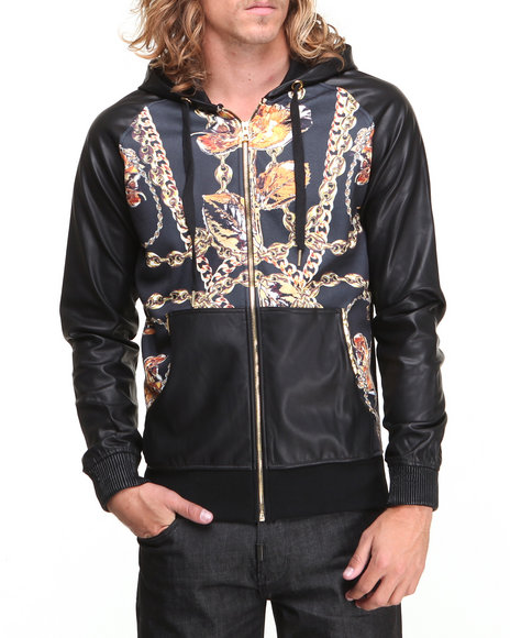 Double Needle - Men Black New Chainz Zip-Up Faux Leather Hoodie