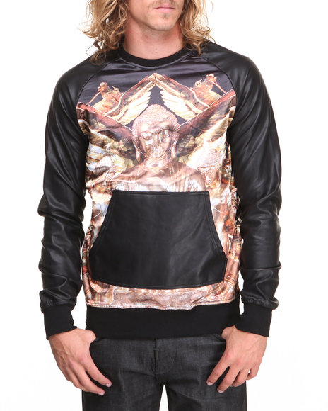 Double Needle Gold Gold Buddah P / U Sleeve Crewneck Sweatshirt