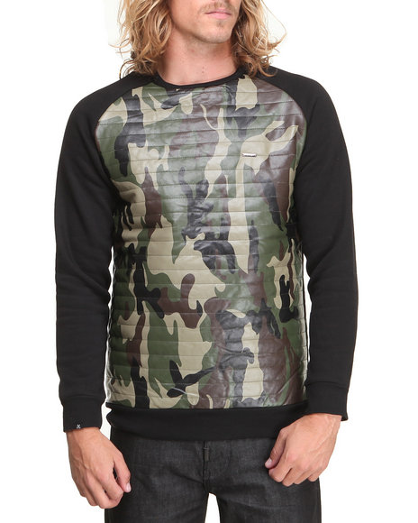 Kite Club - Men Black,Camo Fleece Crew W/ Quilted Camo Faux Leather Panel