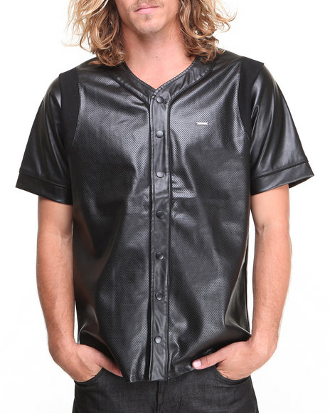 Kite Club Black Perforated Faux Leather Baseball Jersey