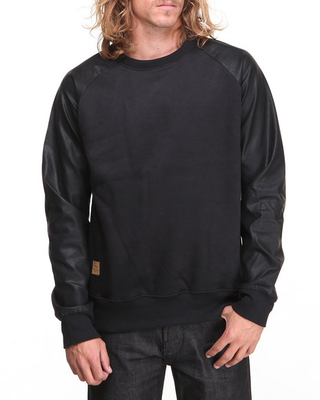 Rolling Paper - Men Black Pu Sleeve Crew Sweatshirt - $26.99