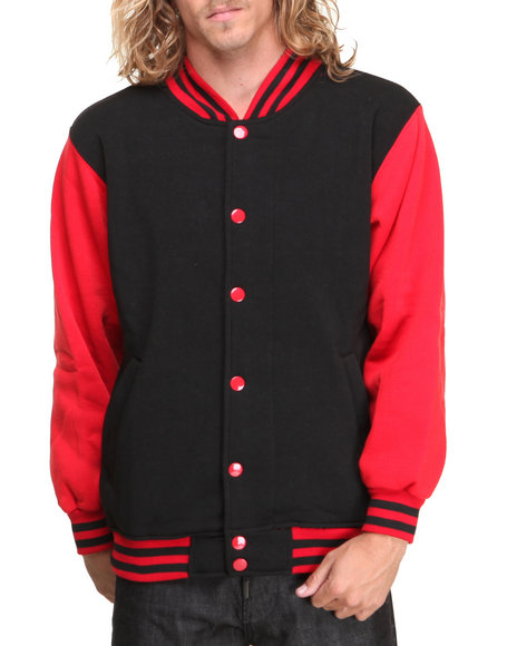 Basic Essentials - Men Black,Red Fleece Varsity Jacket