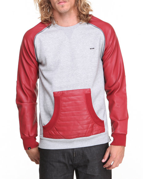 Kite Club Grey,Red Fleece Crew Neck W/ Zipper Detail & Faux Leather Sleeves