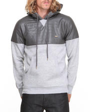 Men - Fleece Hoodie w/ Faux Leather Panel & Hood