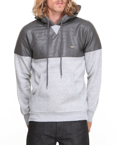 Kite Club - Men Grey Fleece Hoodie W/ Faux Leather Panel & Hood