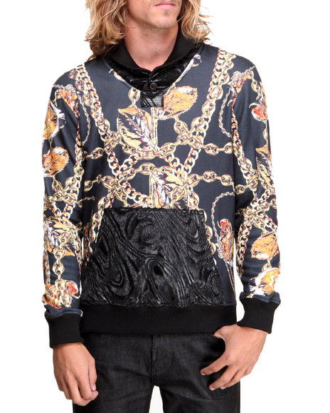Double Needle Black New Chainz Shawl Neck Sweatshirt