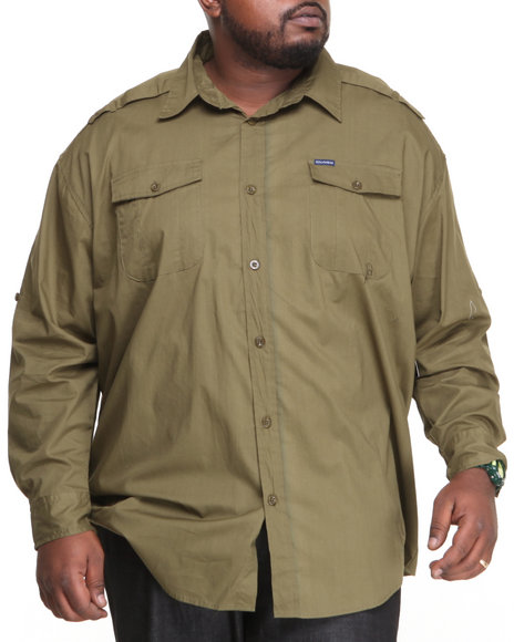 Rocawear Olive Army L/S Button-Down (Big & Tall)