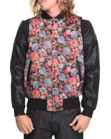 Kite Club - Men Black,Multi Floral Jacket W/ Faux Leather Sleeves
