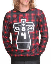 Hoodies - Cross Plaid Crewneck Sweatshirt