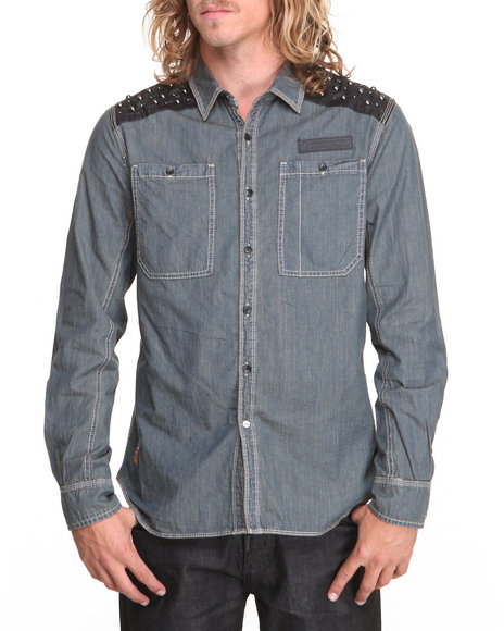 Rolling Paper - Men Light Wash Tint Chambray L/S Button-Down