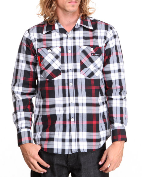 Enyce Black Henry Plaid L/S Button-Down