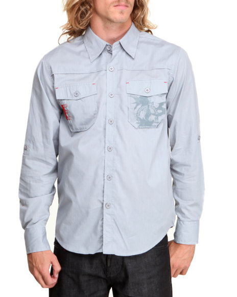 Enyce Grey Airborne Graphic L/S Button-Down