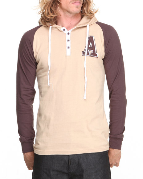 Basic Essentials - Men Brown,Khaki Raglan Style Knit Hooded Top