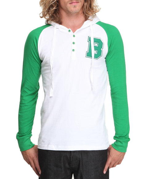 Basic Essentials - Men Green,White Raglan Style Knit Hooded Top