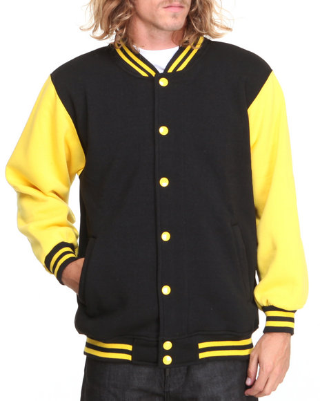 Basic Essentials - Men Black,Yellow Fleece Varsity Jacket
